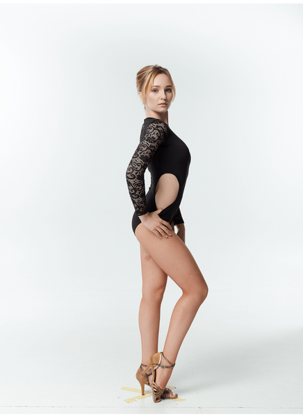 Leotard with Lace Sleeves & Side Cut Outs K475DR-11