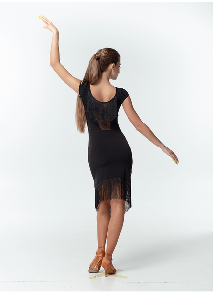 A sleek and sexy dress with capped sleeves, mesh and fringe details at the back to add interest plus uneven fringed hemline.