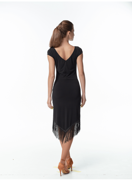 BLACK LATIN dress with side splits and fringe hemline fringe latin dress dancewear for you australia free shipping