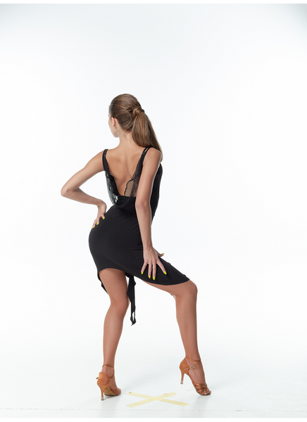 A simple stretch dress perfect for practice, performance or social dancing.  A sexy draped back with mesh detail and uneven hemline plus a little ruching at the front make this simple dress fun and versatile for every occasion.