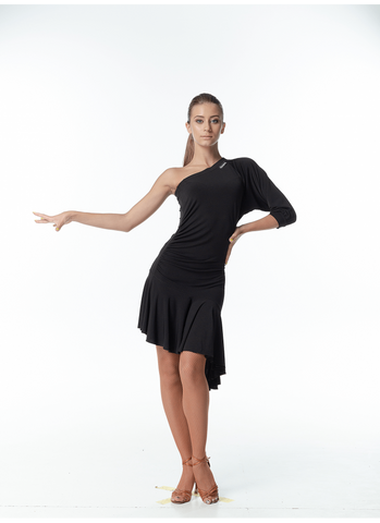 Dance Me Latin Dance Dress PL13 is available in Black in sizes 40-M.  Other sizes are available on special order just drop me a line.   A comfortable simple stretch dress perfect for practice, performance or social dancing.  Single Sleeve, Asymmetrical neckline and hemline plus a little ruching add interest to this versatile dress.