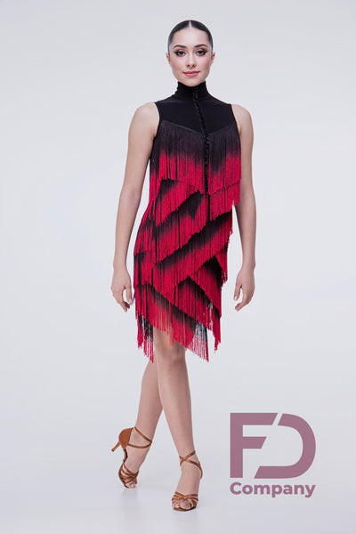 dancewear for you latin fringe dress with red fringe, samba fringe dress, salsa dress