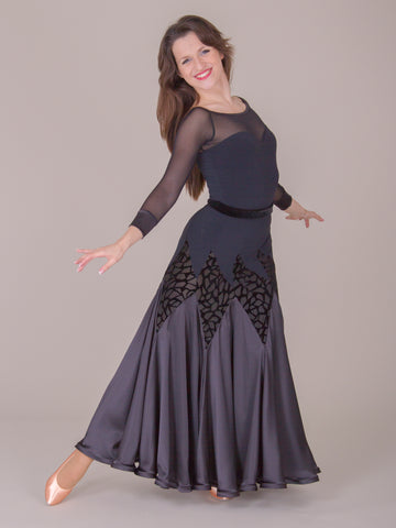 dsi harper long black ballroom skirt from dancewear for you australia and nz dancewear
