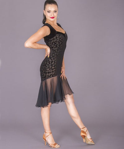 dsi latin dress with georgette circular skirt and velvet details from dsi australia dancewear for you, dress for latin, salsa dress