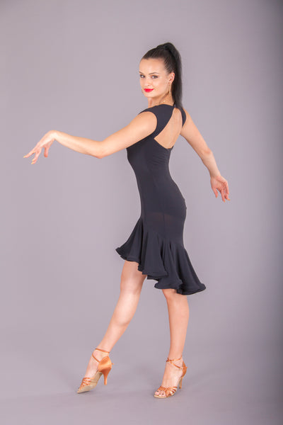 dsi latin dress with graduated hemline and back cut out for salsa and samba and latin dancing from dsi australia dancewear for you