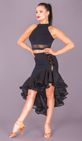 dsi julianna black latin dance skirt with frill from dsi dancewear for you australia and nz dancewear latin skirt