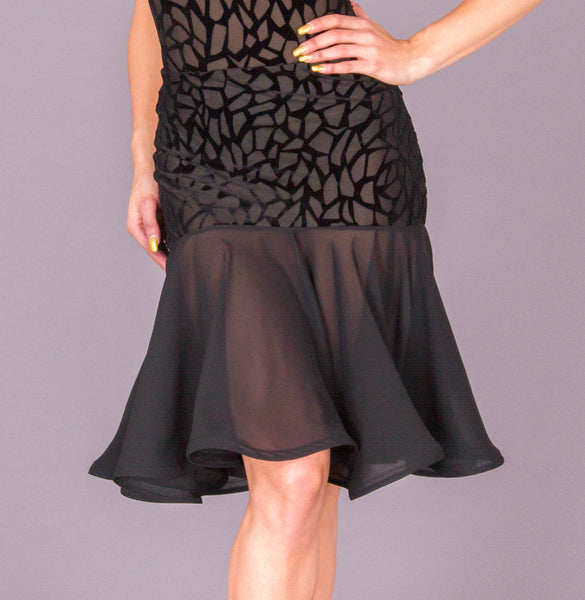 dsi aria flock latin skirt from dancewear for you australia, black dsi latin skirt australia