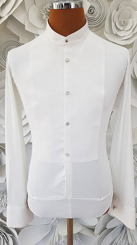 Free Aust-wide shipping.  Best price worldwide with tracking.  Made in Italy this stylish, stretch body shirt comes with built-in pants.  Avail in white or black and white.  The perfect partner for your Alfa Fashion Ballroom Tail Suit.    Available in collar sizes 35cm to 45cm.  Made using exclusive B-stretch fabric - Breathable, quick drying fabric.