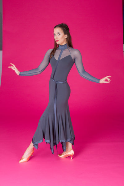 dsi long ballroom skirt with satin hemline and satin sash belt from dsi dancewear for you australia and nz dancewear