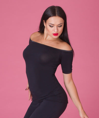 DSI ladies fitted off the shoulder top with short sleeves in crepe or velvet from dsi australia dancewear for you australia and nz
