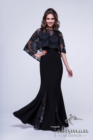 Ballroom Dress with beautiful Cape & Godet Detail for practice, performance, DanceSport and social dancing or evening wear from dancwear for you australia