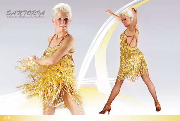 gold sequin fringe latin dress worn by joanna leunis from dancewear for you australia