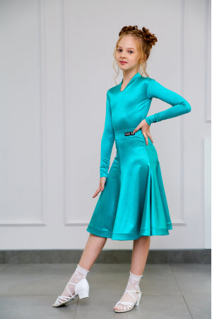 Sveta Dance Fashion created and produced in Russia using only the finest dance fabrics.  This beautiful Girls Juvenile DanceSport Dress is made using stunning Italian Satin Velvet Stretch Fabric in Jade.
