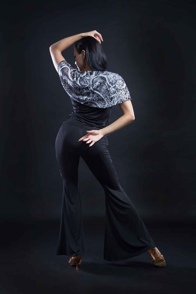 Ballroom or Latin Dance practice pants with flared bottoms and side splits from dancewear for you australia