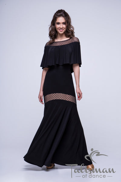 Ballroom Skirt for practice, performance, DanceSport and social dancing or evening wear from dancewear for you australia  Long black fit and flare ballroom skirt