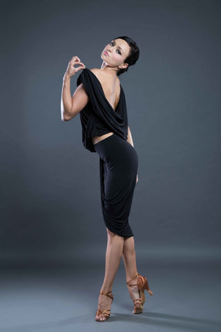 Draped back, backless latin dance top from Dancewear For You Ballroom and Latin Dancewear Australia