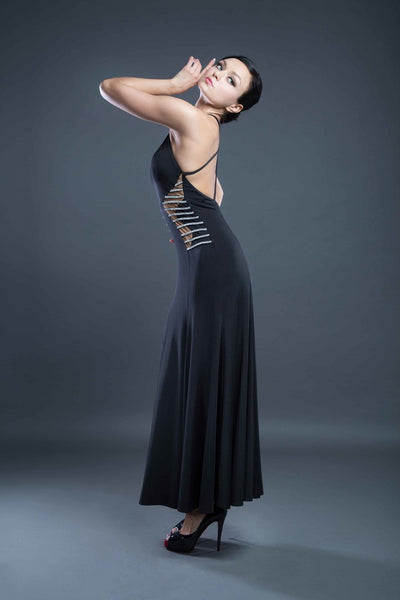 Long Black evening dress, formal dress by Dancewear For You Australia, Evening wear, formal wear, Ballroom and Latin Dancewear Australia