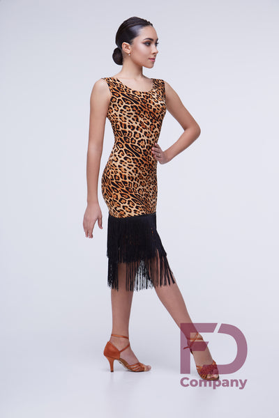 sleeveless latin and cocktail dress animal print with long black fringe dancesport latin dress australia