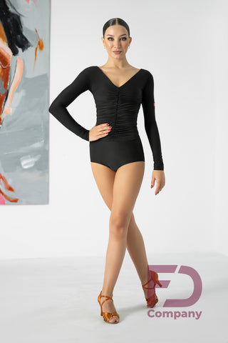 Free Australia-wide standard shipping.  Cheap and efficient worldwide shipping with Australia Post plus tracking.  Gorgeous Bodysuit long sleeves, deep V neckline back and front and flattering ruching.  Fastens at the bottom.  Made with stretch crepe.  This versatile leotard is perfect for Lessons, Evening Wear, Social Dancing, Practice or Performance.
