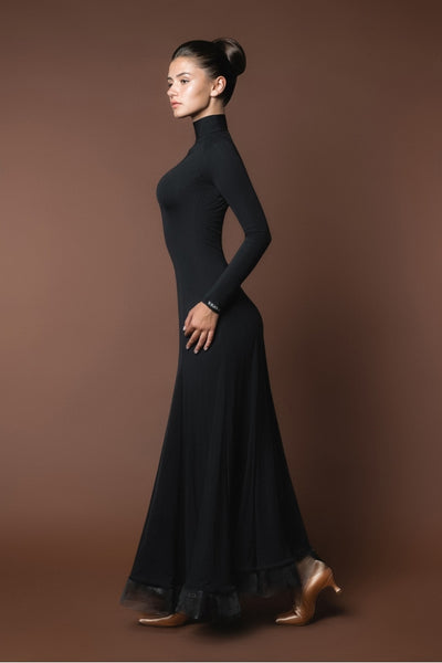 classic black ballroom dance dress from dancewear for you australia with high neck, long sleeves and crinoline hem
