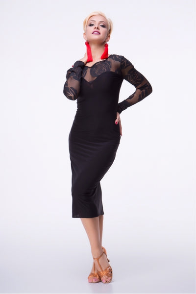Slimline Dress perfect for Latin, Tango, Cocktail Wear and Evening Wear with sheer stretch net back, neckline and sleeves.  Perfect for performance, DanceSport and social dancing or evening and cocktail wear.  A very flattering style for Latin and Tango from dancewear for you australia