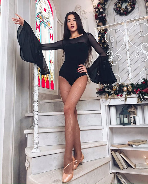 Elegant and versatile Long Sleeved Dance Bodysuit with Gorgeous Bell Sleeves, stretch mesh neckline and scooped back for an eye-catching look - perfect for your next Performance!   DNC Religion Dancewear