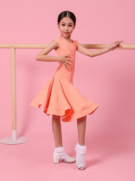 The perfect Ready To Wear Juvenile Ballroom & Latin Girls Dress available in 3 sugar sweet colours.  This 2 piece set of leotard (snap closure) and skirt is made using stretch dance fabrics.