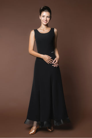 simple black ballroom practice dress with crinoline hemline from dancewear for you australia
