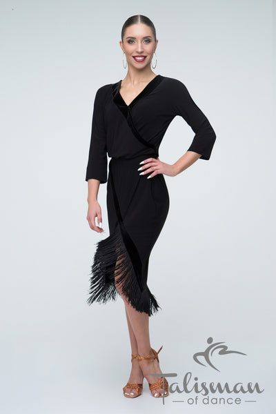 Latin Dress with Fringe Hemline PL-963
