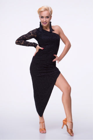 Slimline Dress perfect for Latin, Tango, Cocktail Wear and Evening Wear with stretch lace single sleeve design and high side split.   Perfect for performance, DanceSport and social dancing or evening and cocktail wear.  A very flattering style for Latin and Tango.