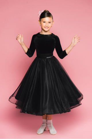 Girls Juvenile Ballroom Skirt with Organza in Black