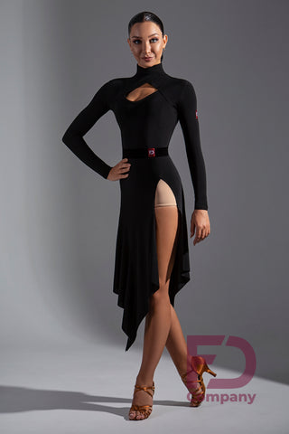 Stretch Crepe Long Sleeve Top with High Neck and sexy cutout detail.  Pair with any skirt or pants.  Perfect for practice or performance.