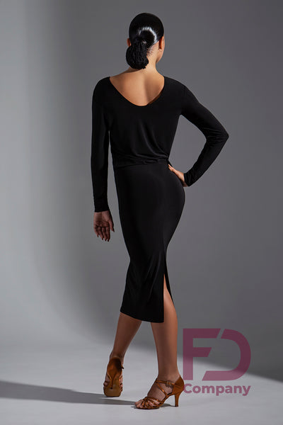 Stretch Crepe Latin Dress with Loose Fit, Long Sleeved Top and Slimline Skirt.  Perfect for Evening Wear, Social Dancing, Practice or Performance.