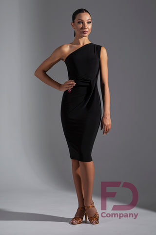 Stretch Crepe Latin Dress with Single Shoulder, Asymmetrical Neckline, Sleeveless with a gorgeous fitted skirt.  Perfect for Evening Wear, Social Dancing, Practice or Performance.