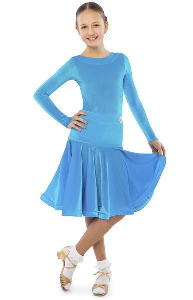 FREE Australia-wide shipping - fast & secure with tracking!  Best price guaranteed on worldwide shipping.  Smooth stretch velvet 2 piece juvenile dress, long sleeved leotard with hidden zipper at the back and a full skirt with dropped waist and hidden crinoline hem.