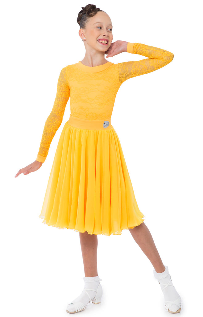 455b88ec4 sasuel juvenile ballroom dress with long sleeved lace leotard and skirt  with multiple layers of georgette