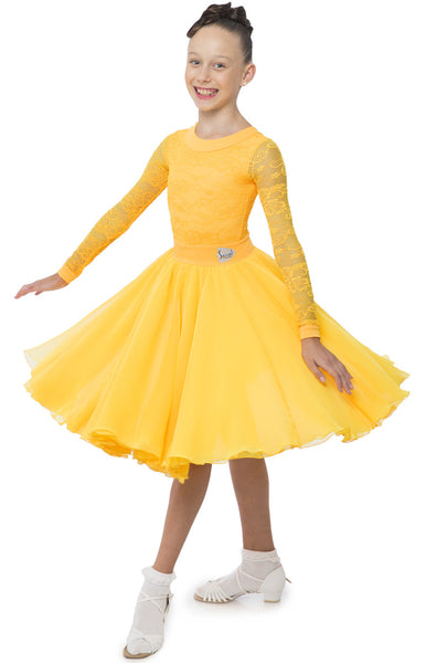 sasuel juvenile ballroom dress with long sleeved lace leotard and skirt with multiple layers of georgette from dancewear for you australia