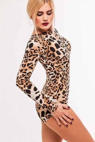 stesh atelier animal print leotard with deep v back and long sleeves with free shipping from dancewear for you australia and nz