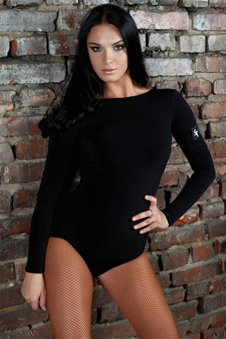 stesh atelier black dance leotard with deep v back and long sleeves with free shipping from dancewear for you australia and nz