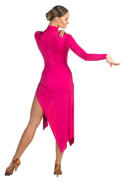 DANCEBOX latin and tango dress with side split and high neck and long sleeved latin dress from dancewear for you australia