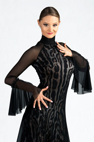 dancebox ballroom dress and evening wear dress with double layer skirt with crinoline hem and long sleeves with high neck in soft silk jersey, dancesport ballroom dress from dancewear for you australia