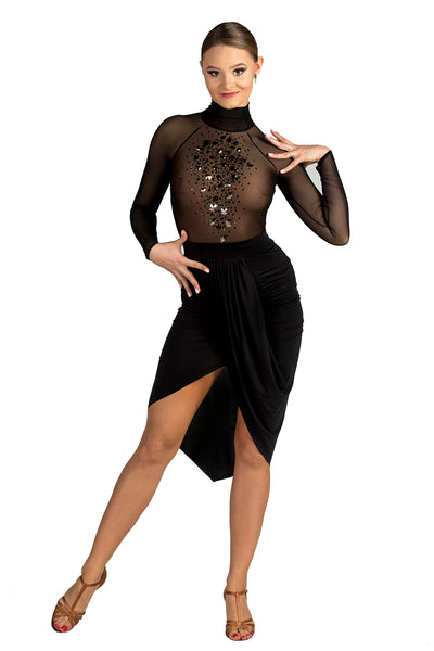 dancebox ladies long sleeved bodysuit with high neck and crystal rhinestones from dancewear for you australia