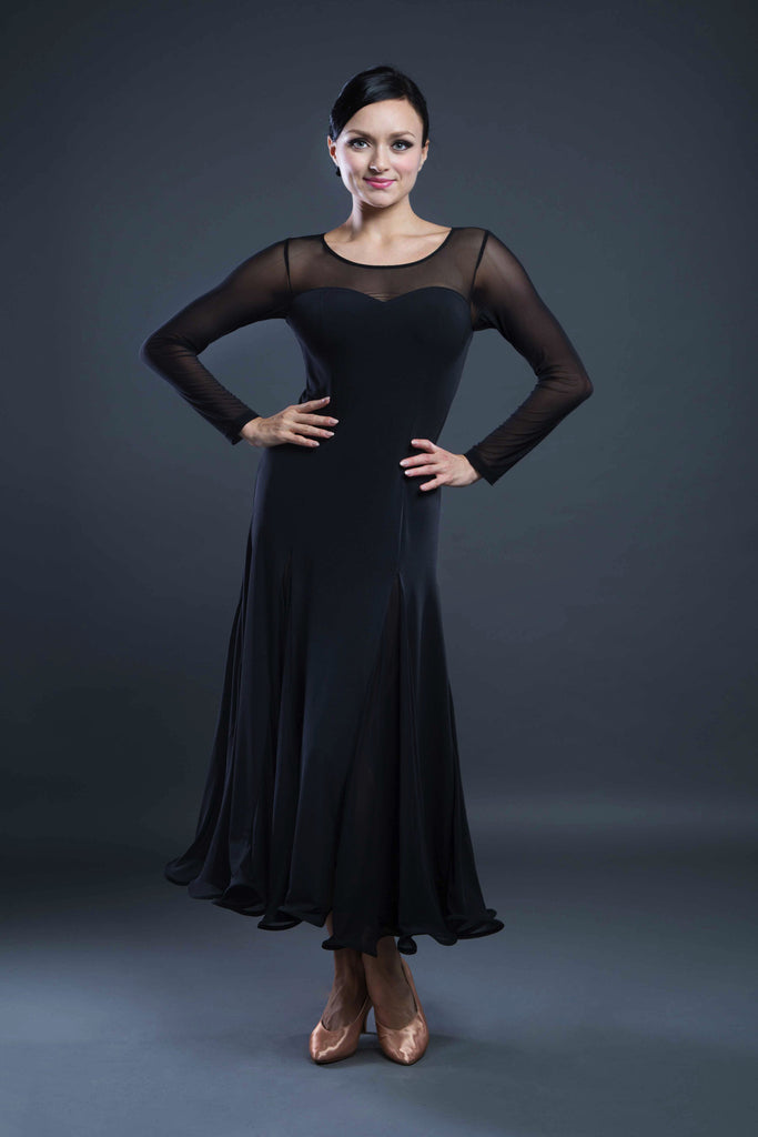 Black ballroom dress with mesh sleeves from dancewear for you australia