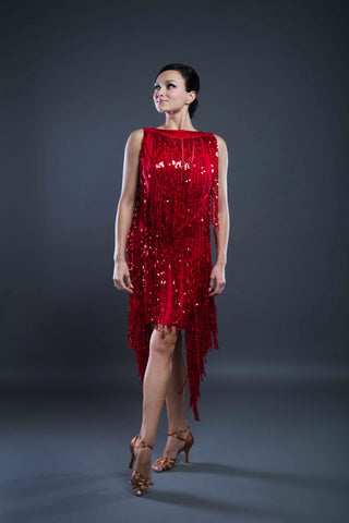 Latin Dancesport dress with low back and long sequin fringe from dancewear for you australia