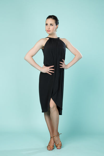 santoria ladies mid length full latin or contemporary dance dress, sleeveless stretch dance dress from dancewear for you