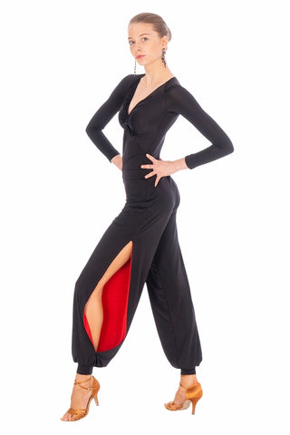 FREE AUSTRALIA-WIDE SHIPPING.  Best price worldwide.  Fabulous latin dance pant for passionate Salsa, Tango and Social Dancing… Cut in our famous soft silk jersey. Moving with your body, accentuating every movement.  The red inside flashes cheekily from time to time, showing and elongating your legs. You will fall in love !
