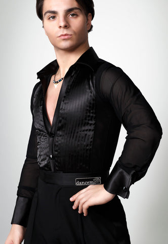 Latin performance, dancesport latin shirt with swarovski buttons from Dancewear For You Australia