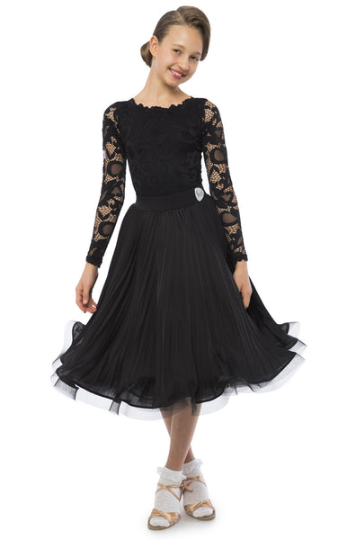 sasuel girls juvenile ballroom dance dress with leotard with lace sleeves and skirt with organza and satin and crinoline hem from dancewear for you australia