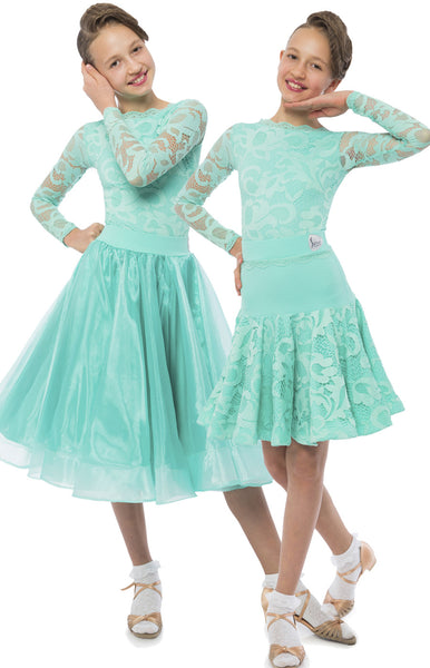 Elsa 3 piece ballroom and latin juvenile competition dress, lace leotard long sleeves with latin skirt and ballroom skirt from dancewear for you