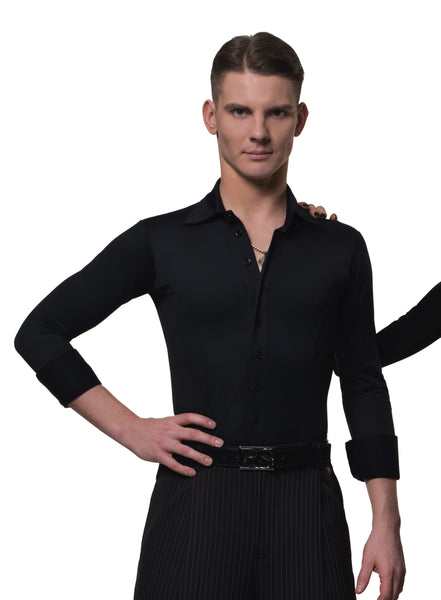 rs atelier mens special black slim fitted stretch body shirt from dancewear for you